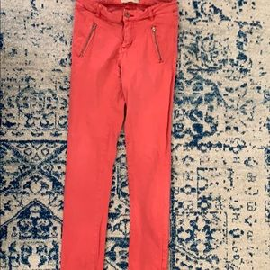 Super sexy red skinny jeans with side zippers